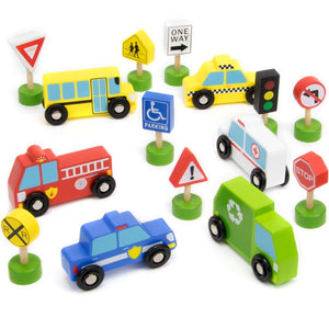 15pcs Toddler Wooden Street Sign & Car Playset | Wooden Toys | Montessori Toys