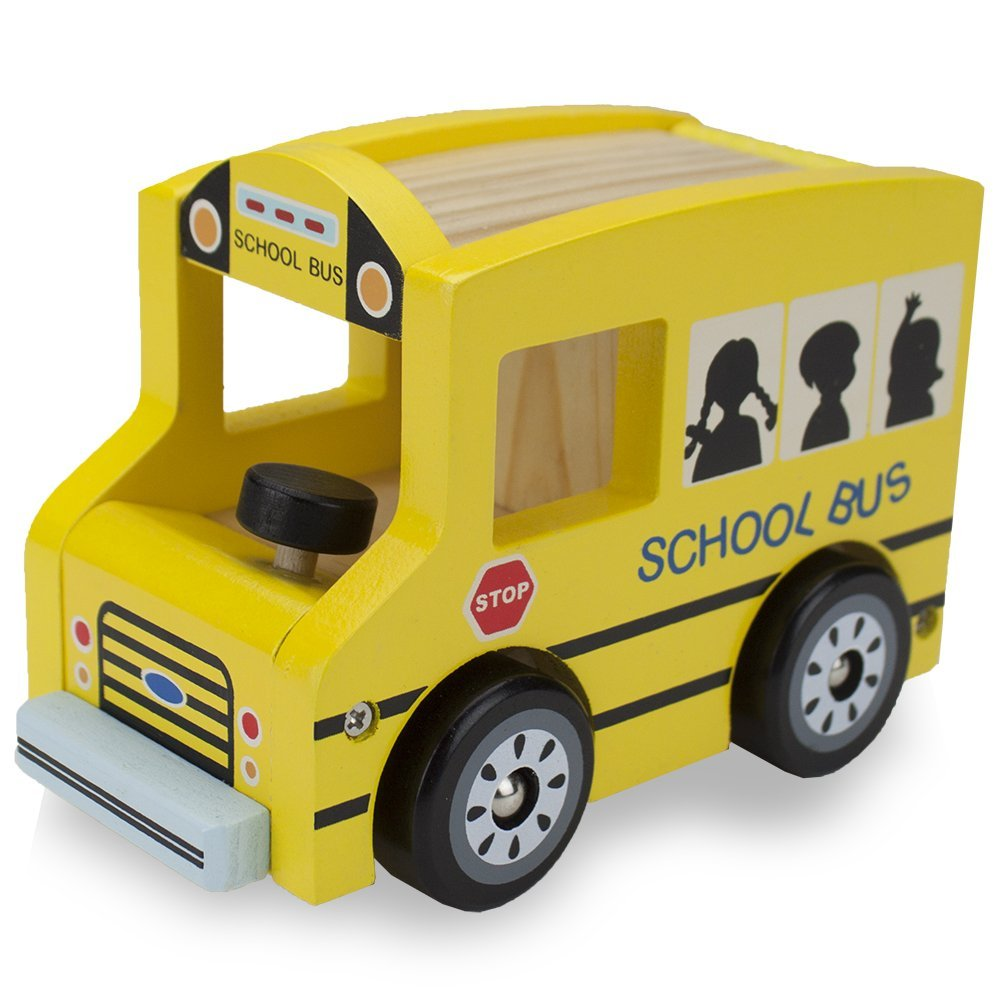 Natural Beech Wood School Bus | Wooden Toys | Montessori Toys
