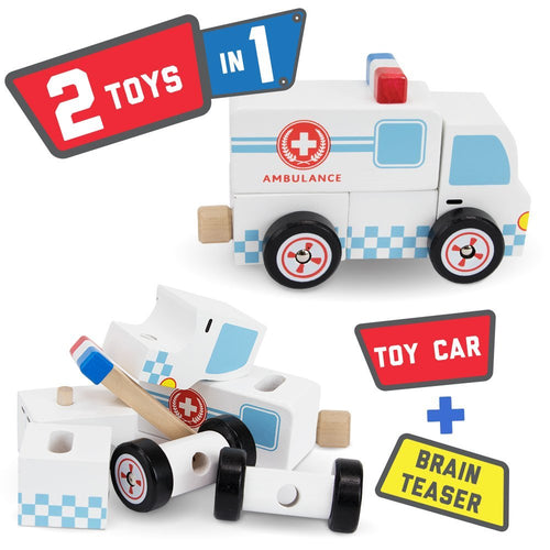 Toddler Wooden Toy Ambulance | Wooden Toys | Montessori Toys