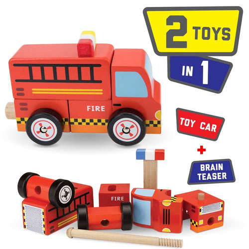 Wooden Wonders Toy Fire Engine For Toddlers | Wooden Toys | Montessori Toys