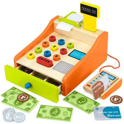 22pcs Pretend Play Cash Register | Wooden Toys | Montessori Toys