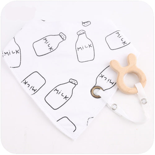 Wooden Milk Bottle Teething Ring & Milk Bottle Bib | Wooden Toys | Montessori Toys