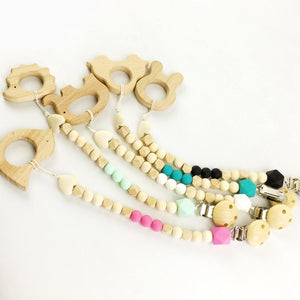 Wooden Pacifier Clip & Teething Toy | Wooden Toys | Montessori Toys