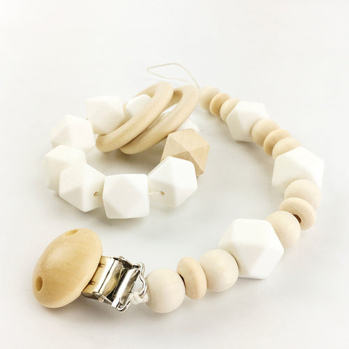 Wooden Baby Teething Bracelet & Pacifier Clip Set | Wooden Toys | Montessori Toys