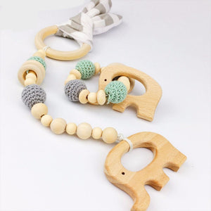 Wooden Elephant Teether & Matching Stroller Toy | Wooden Toys | Montessori Toys
