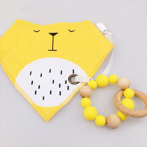 Wooden Teething Ring & Matching Lion Bib Set | Wooden Toys | Montessori Toys