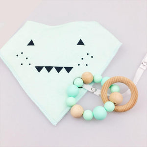 Wooden Teething Ring & Green Monster Bib Set | Wooden Toys | Montessori Toys