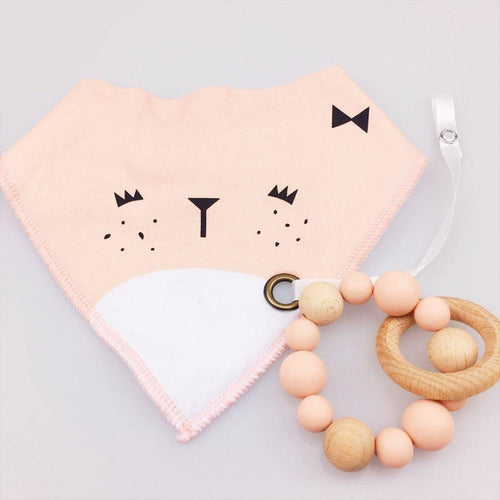 Wooden Teething Ring & Squirrel Bib | Wooden Toys | Montessori Toys