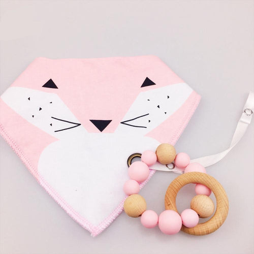 Wooden Teething Ring & Pink Fox Bib | Wooden Toys | Montessori Toys