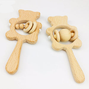 Wooden Teddy Baby Teether Rattle | Wooden Toys | Montessori Toys