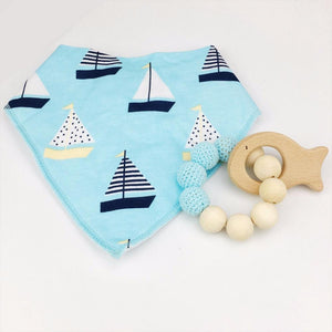 whale wooden teething ring & Maine Bib