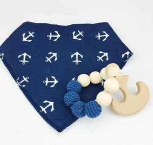 Wooden Teething Ring & Anchor Bib | Wooden Toys | Montessori Toys