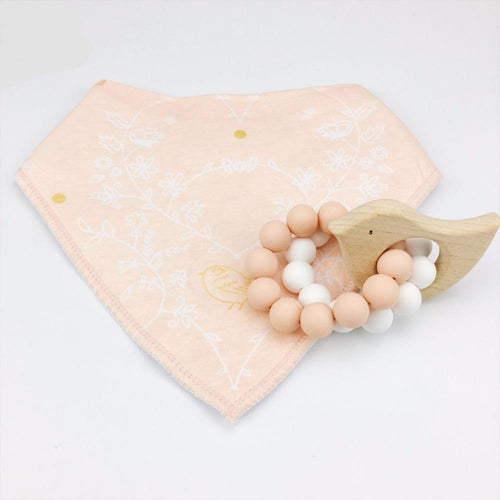 Wooden Teething Ring & Apricot Bib | Wooden Toys | Montessori Toys