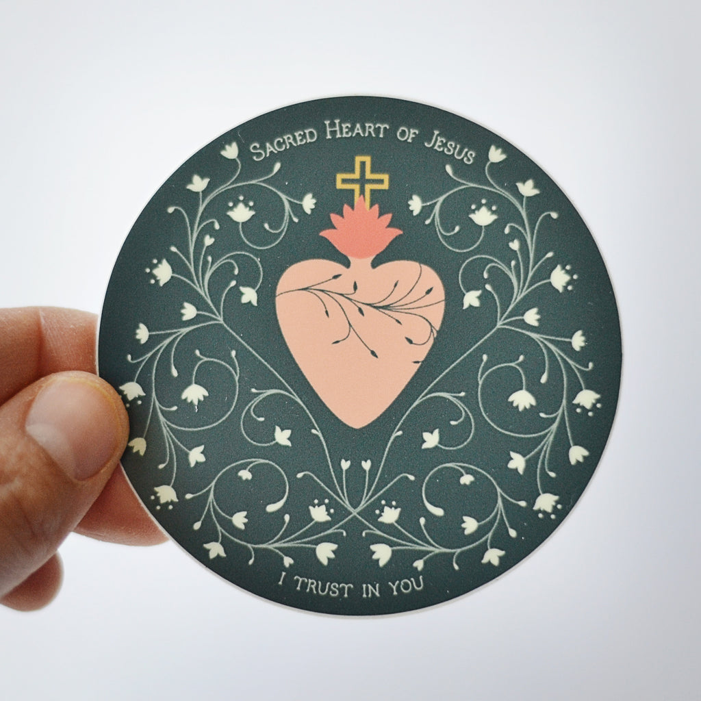 Sacred Heart Circle Sticker