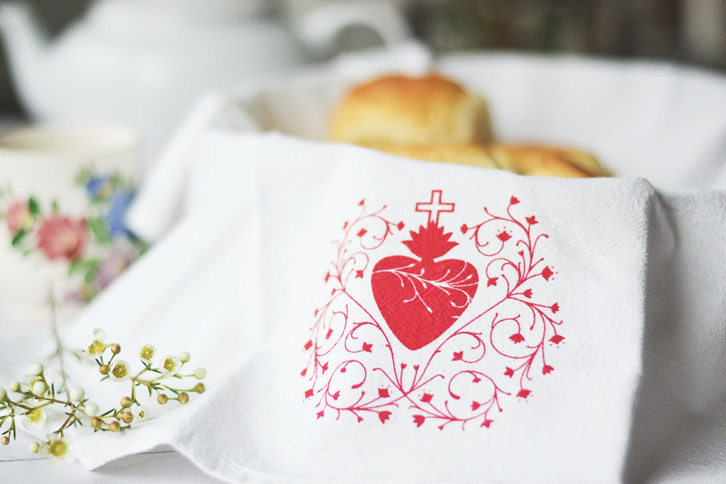 Sacred Heart Tea Towel