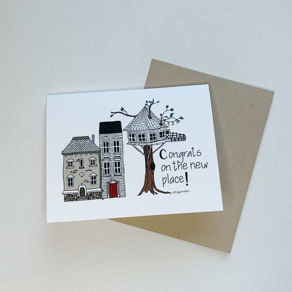 Congratulations on the new place! card / watercolor and ink / single folded card / blank inside / Kraft envelope / new home