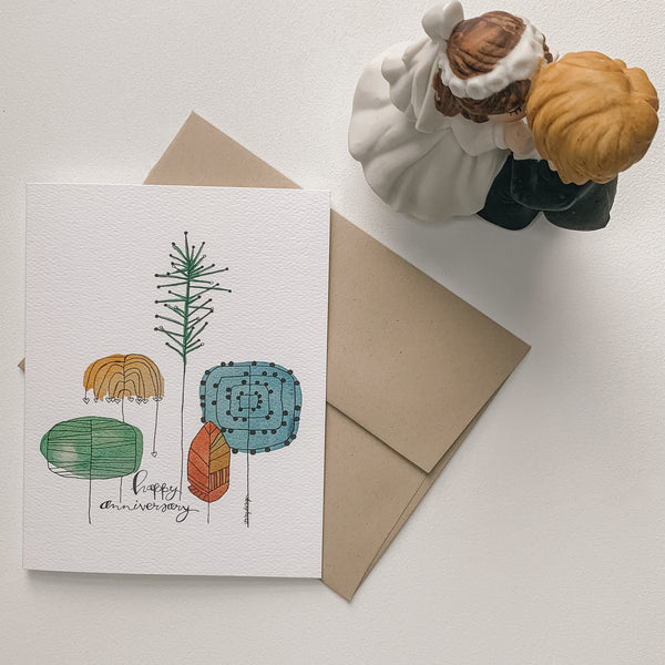 Happy Anniversary with trees card / watercolor and ink / single folded card / blank inside / Kraft envelope