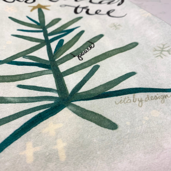 Christmas tree towel close up