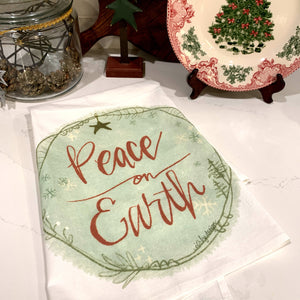 Christmas Flour Sack Towel / Peace on Earth / 100% Cotton