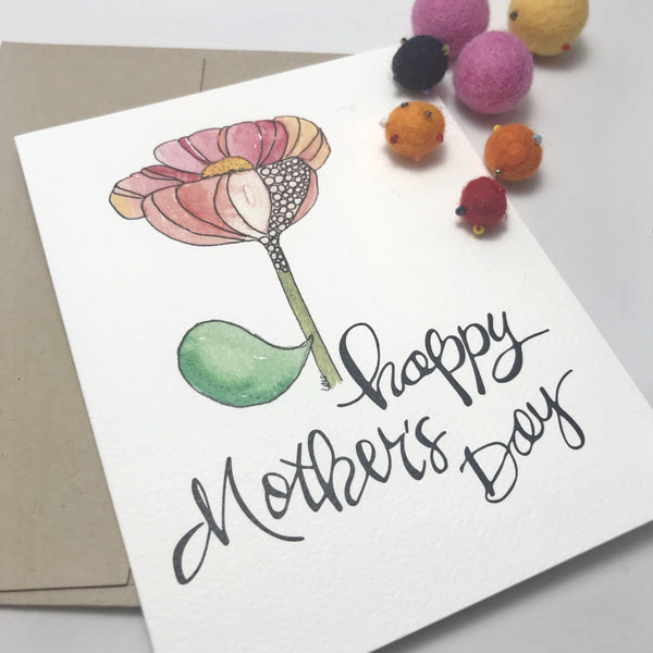 Mother's Day Card /flower stem / watercolor and ink / single folded card / blank inside / Kraft envelope
