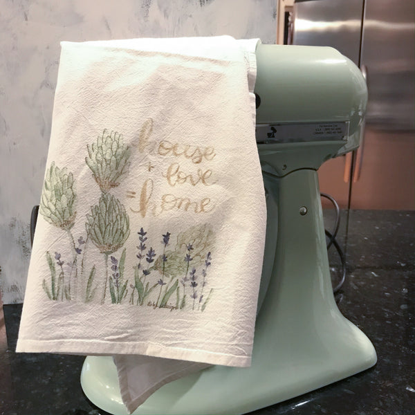 Tea Towel / house + love = home / Cotton Flour Sack Towel