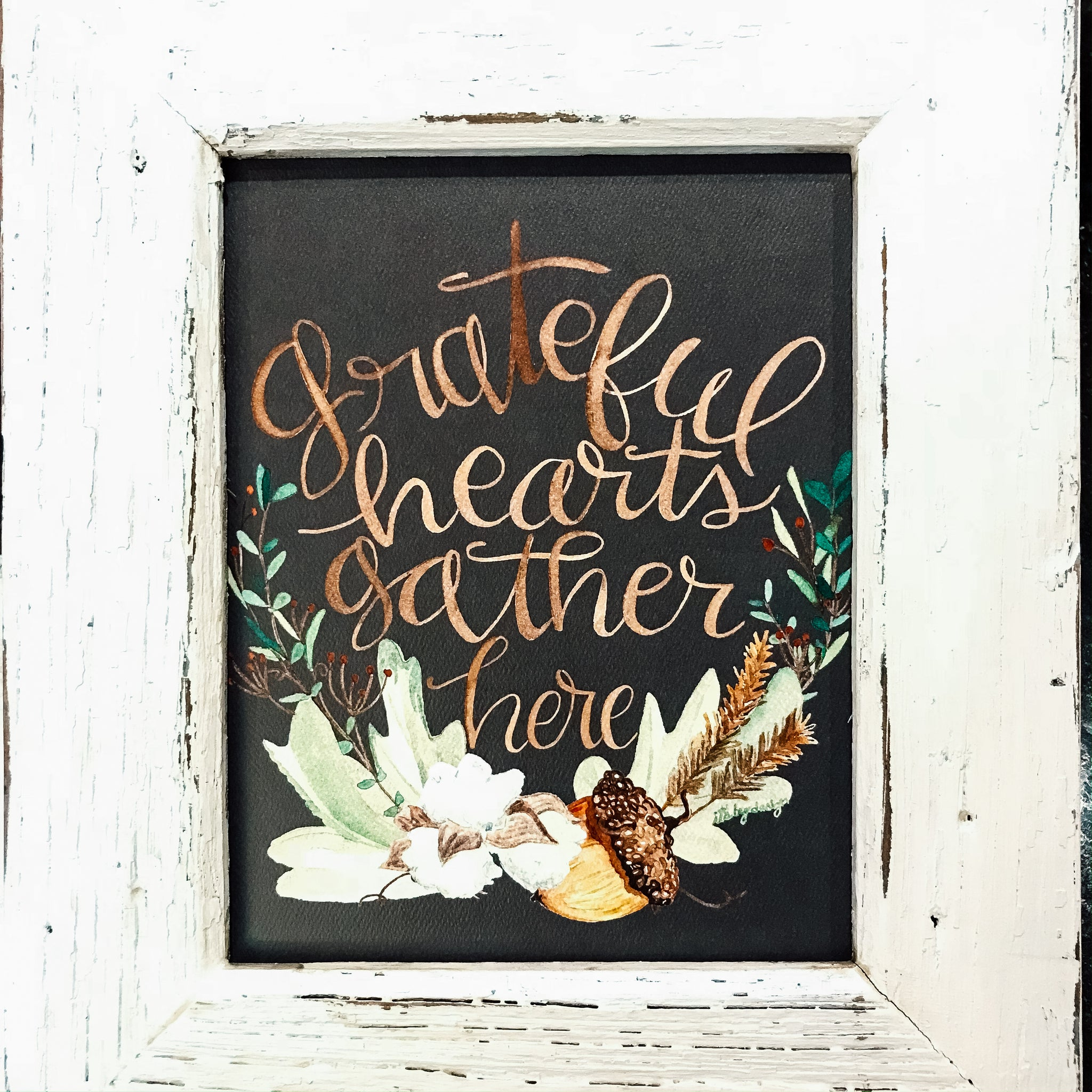 grateful hearts gather here / acorn / cotton / 8 x 10 inch / PRINT
