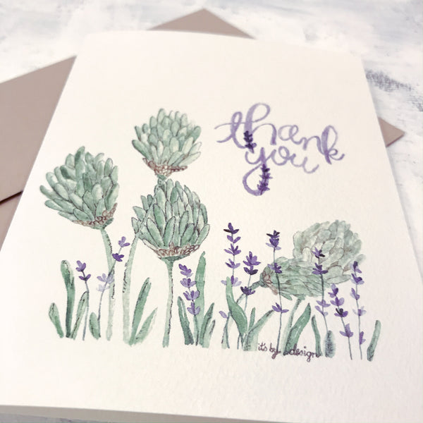 Thank You Card / lavender / watercolor / folded card / blank inside / Kraft envelope