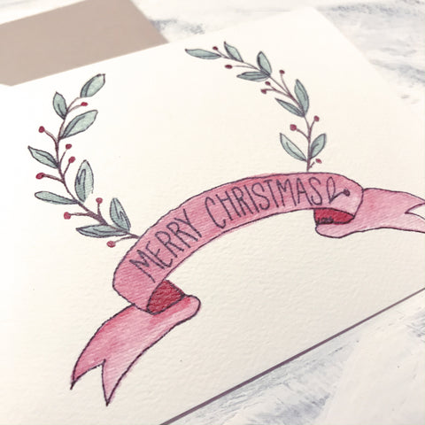 Merry Christmas card / red ribbon / watercolor and ink / blank inside / white or Kraft envelope