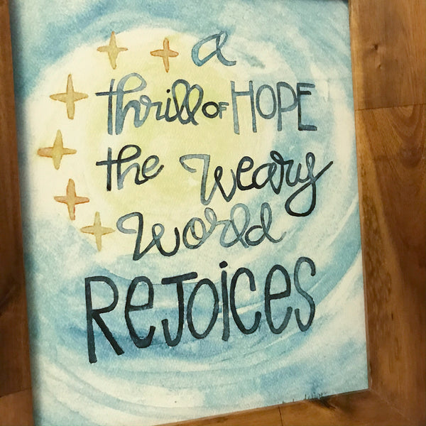 a thrill of hope the weary world rejoices/ night sky / stars /8 x 10 inch / PRINT