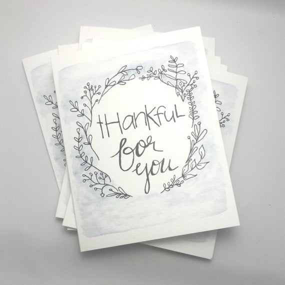 thankful for you / Thank you Card / watercolor and ink / blank inside / Kraft envelope