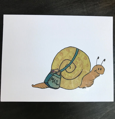 Snail Mail notecard / watercolor and ink / single folded card / blank inside / Kraft envelope