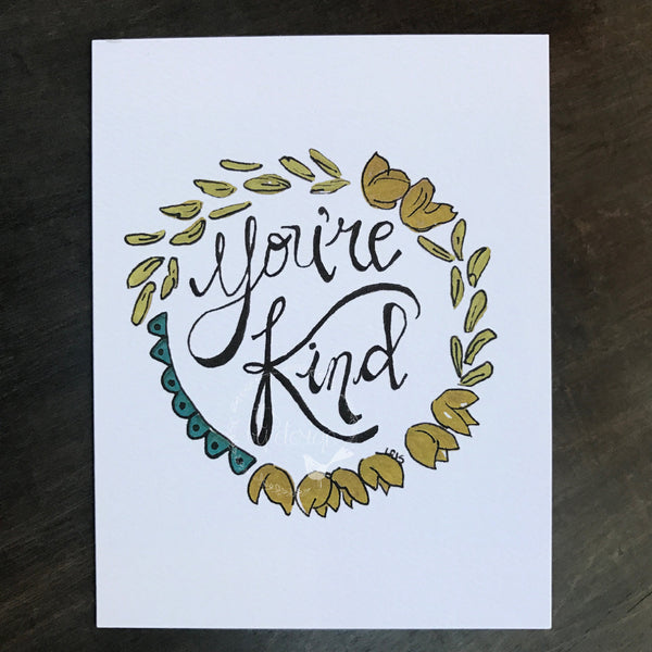 You're Kind thank you note card / watercolor and ink / blank inside / Kraft envelope