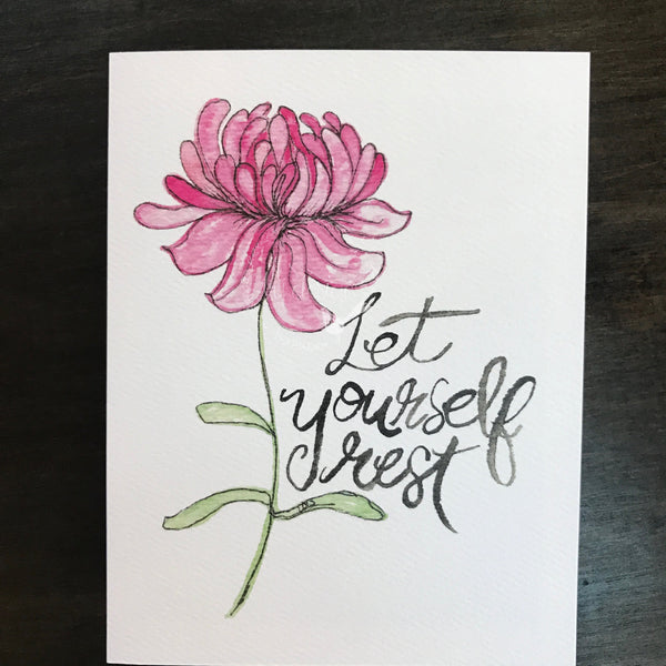 Let Yourself Rest / Get Well / Thinking of You Card / watercolor and ink /  blank inside