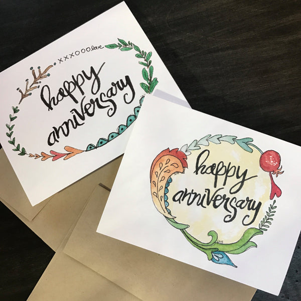Happy Anniversary Card / watercolor and ink / single folded card / blank inside / Kraft envelope