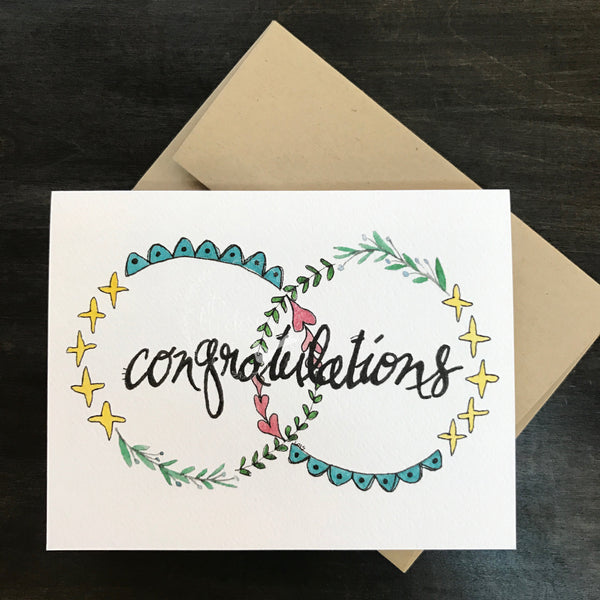 Congratulations Card / watercolor and ink / single folded card / blank inside / Kraft envelope