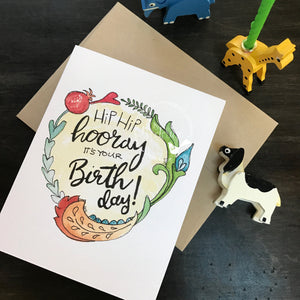 Birthday Card / watercolor and ink / single folded card / blank inside / Happy Birthday /Kraft envelope