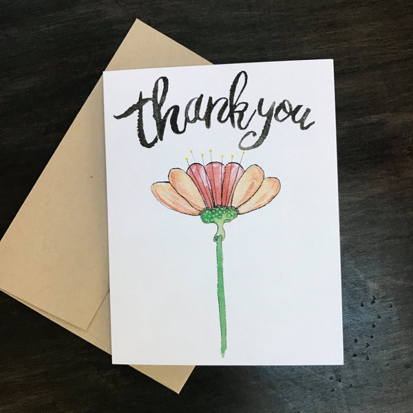 Thank You Card / watercolor and ink / single folded card / blank inside / Kraft envelope