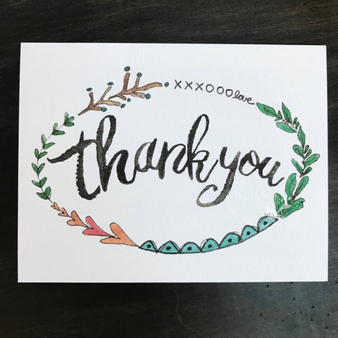 Thank You Card  with border / watercolor and ink / single folded card / blank inside / Kraft envelope
