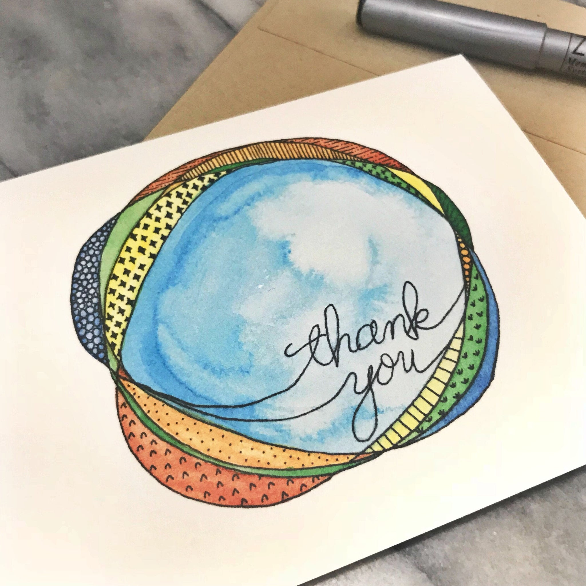 Thank You Card / blue with doodles / watercolor and ink / blank inside / Kraft envelope