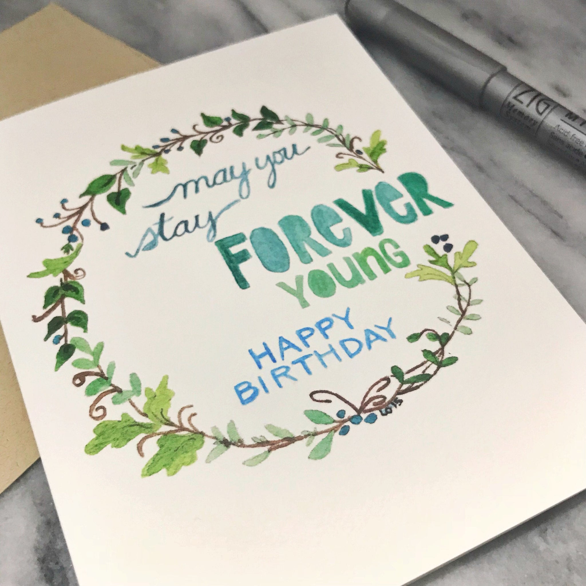 Forever Young Birthday Card  / watercolor / single folded card / blank inside / Kraft envelope
