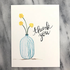 Craspedia Billy Balls / Thank You Card / watercolor and ink / single folded card / blank inside / Kraft envelope