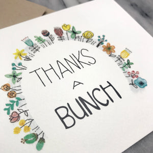 Thanks A Bunch / thank you card / watercolor and ink / blank inside / Kraft envelope