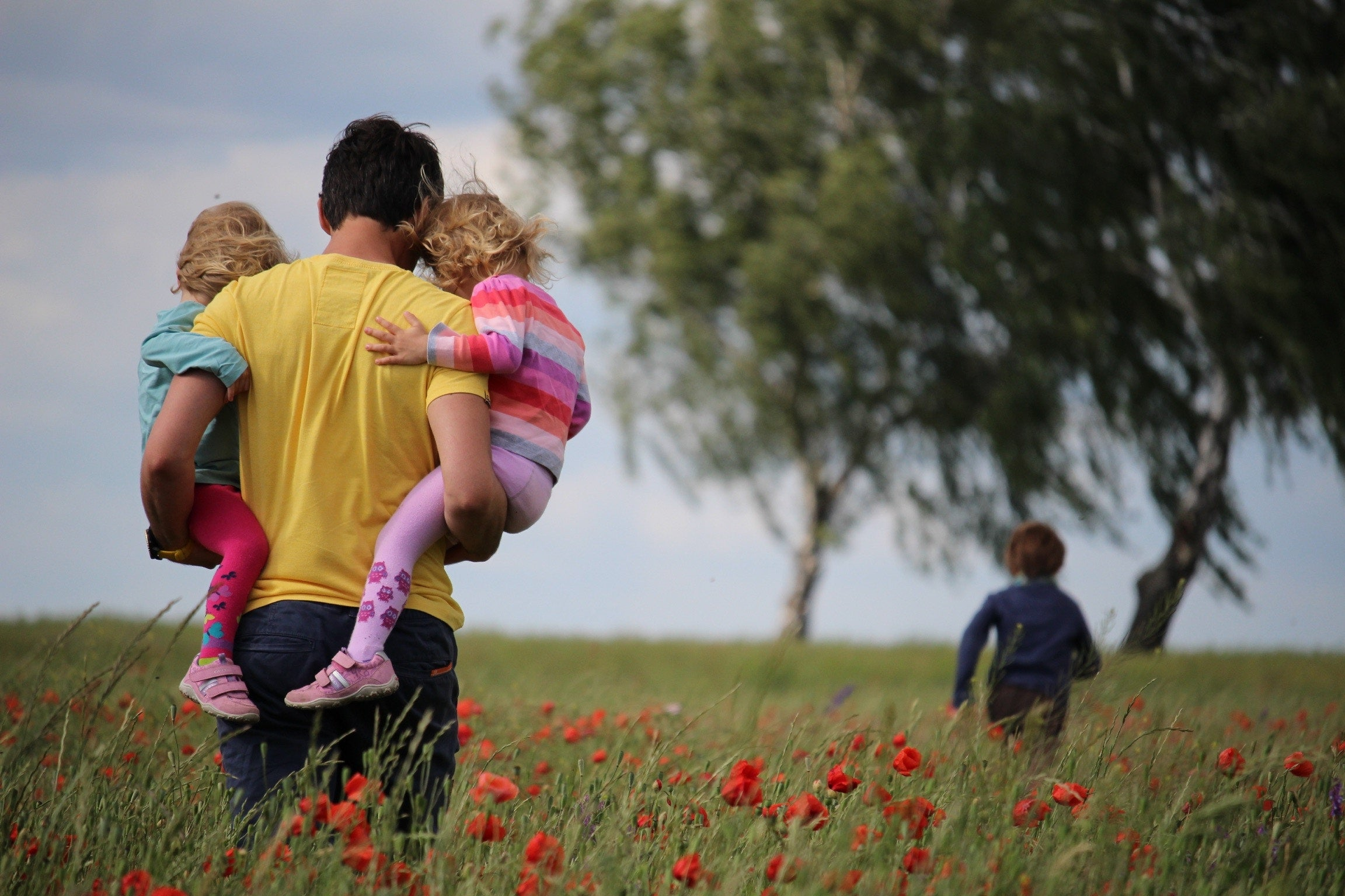 Adult Carrying Two Kids in a Field With Third Kid in The Distance by a Tree
