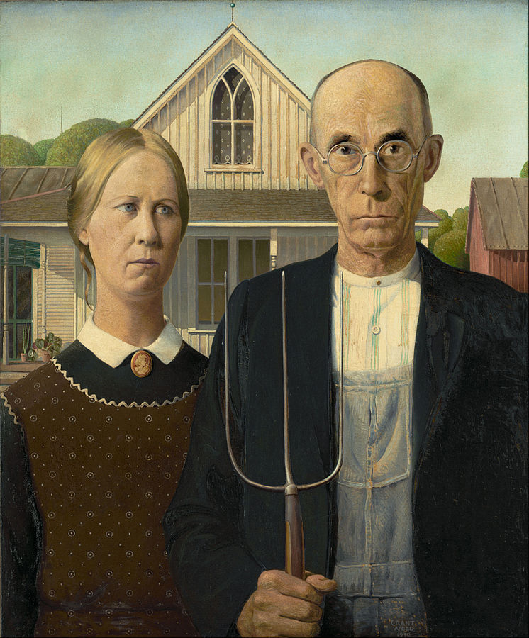 American Gothic pitchfork couple