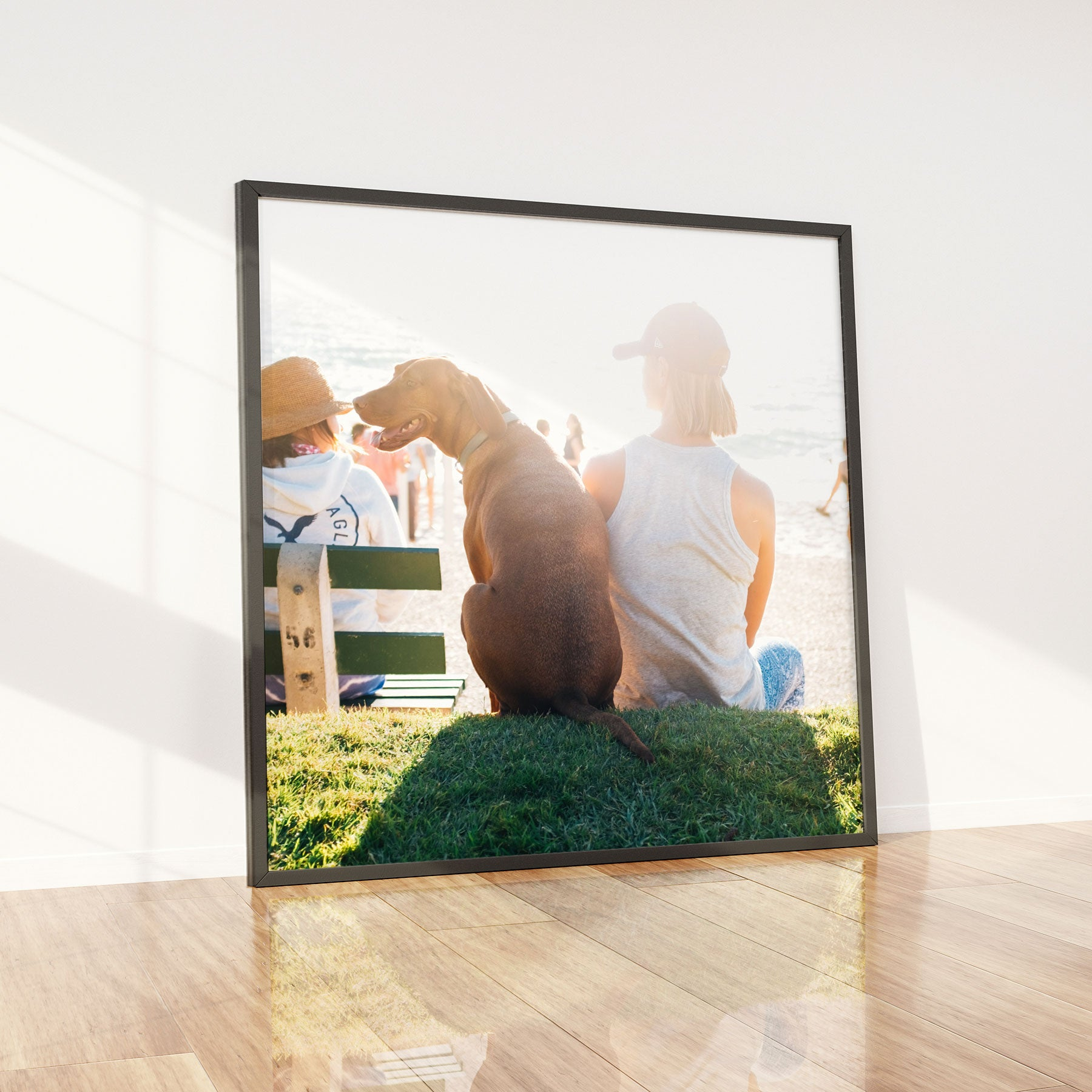 Acrylic Print with Standard Frame Displaying a Photo of a Person with Their Dog