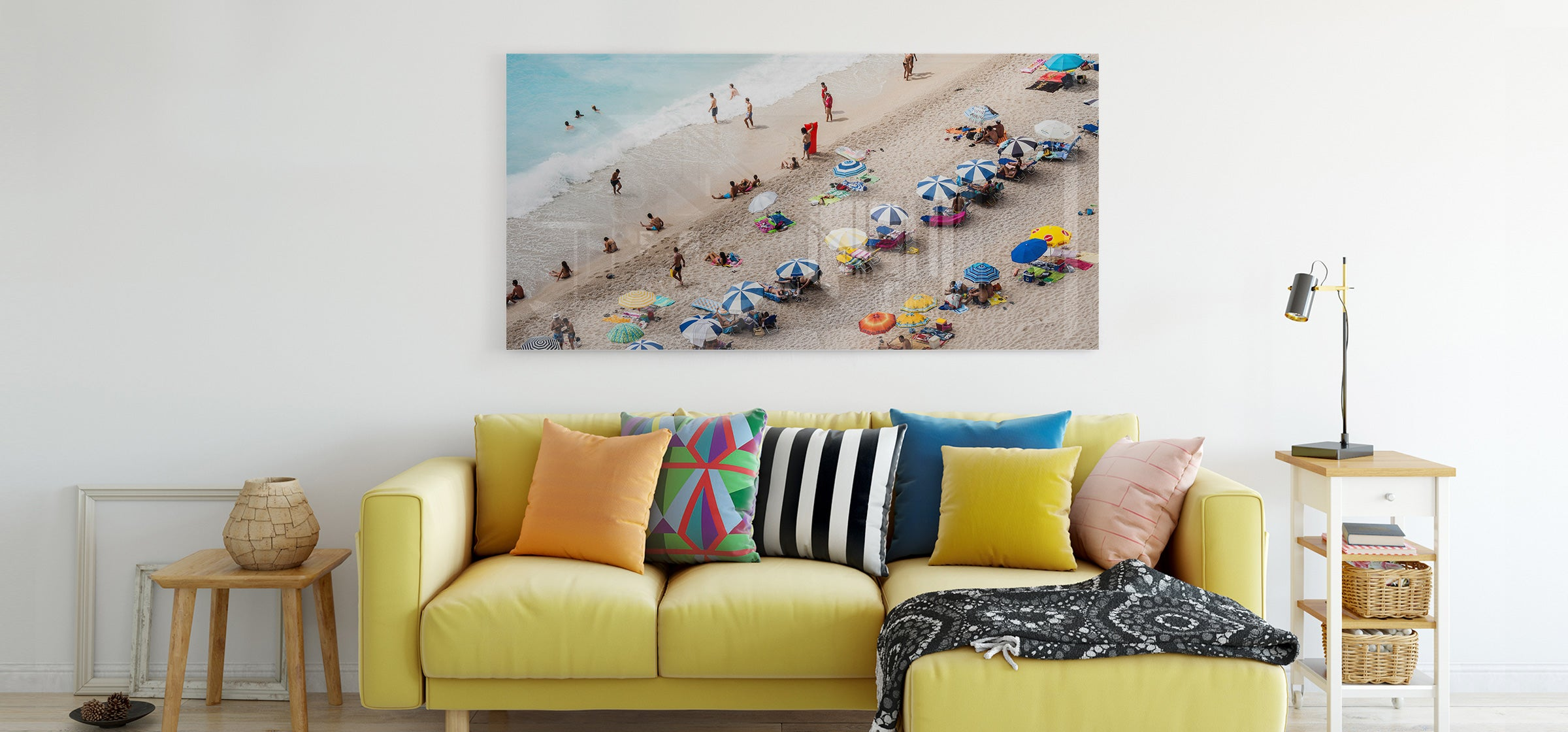 Beach Photo Acrylic Print on Display in Living Room - Printed by Posterjack Canada