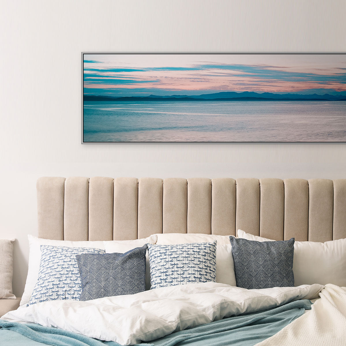 Panoramic Photo of a Sunset Over the Ocean in Victoria, BC - Bedroom Decor Styled by Posterjack Canada