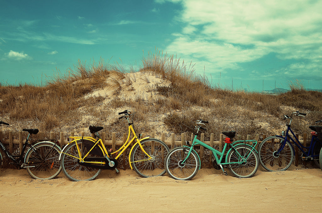 Bicycles in the sand on the beach