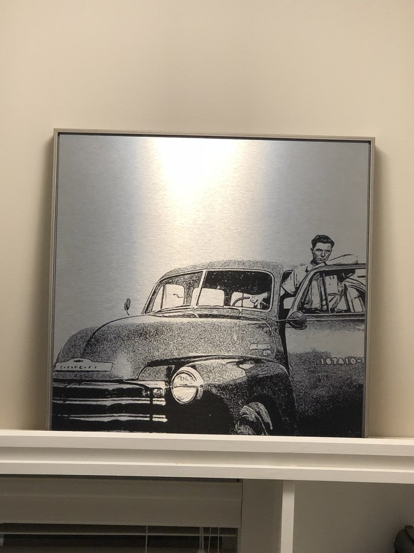 Posterjack Canada Customer Photo Feature - Brushed Silver Metal Print with Silver Modern Float Frame