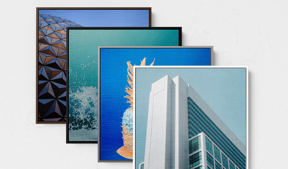 Brushed Silver Metal Prints with Float Frame Colour Options, Posterjack Canada